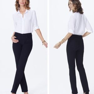 Nydj Marilyn straight leg black jeans new